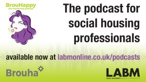 The BrouHappy Logo is in the top left corner, the LABM logo is in the bottom right corner and there is a URL for the podcast